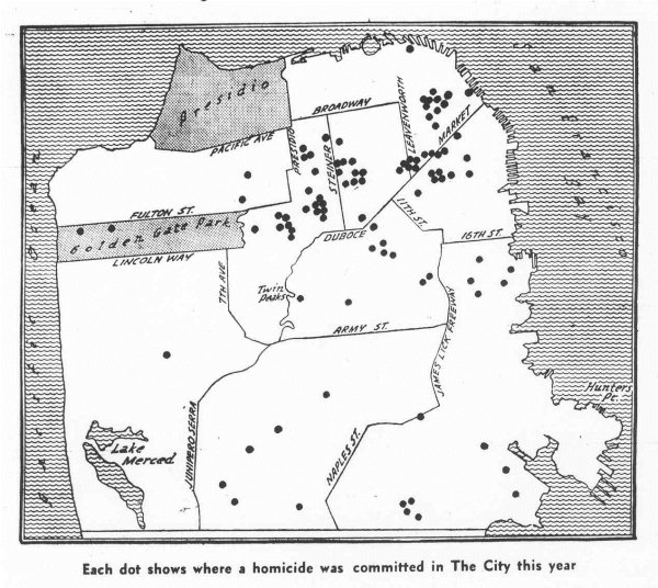 Map of San Francisco Murders from Jan - Aug of 1969