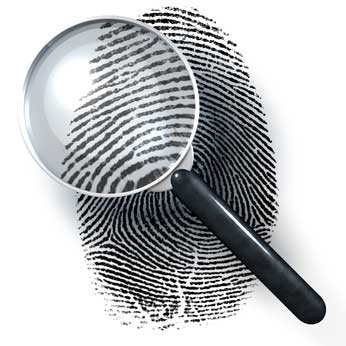 A magnifying glass on a fingerprint